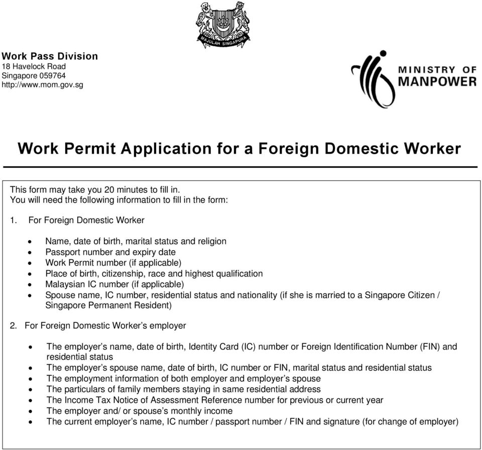 Work Permit Application for a Foreign Domestic Worker - PDF