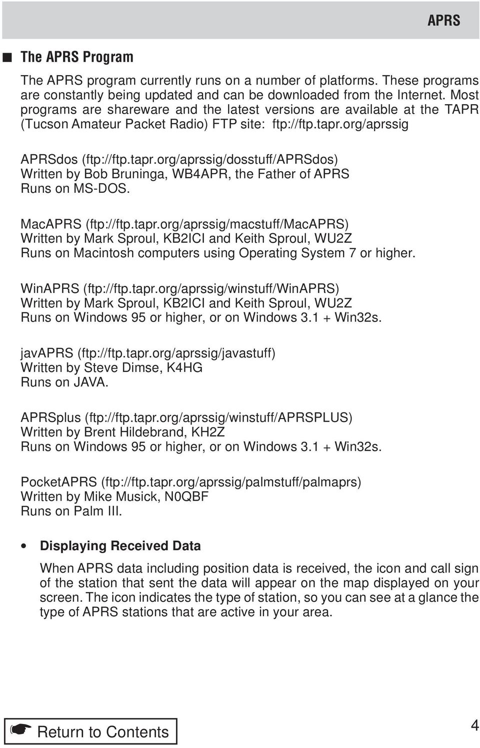 APRS ABOUT APRS  Return to Contents APRS - PDF