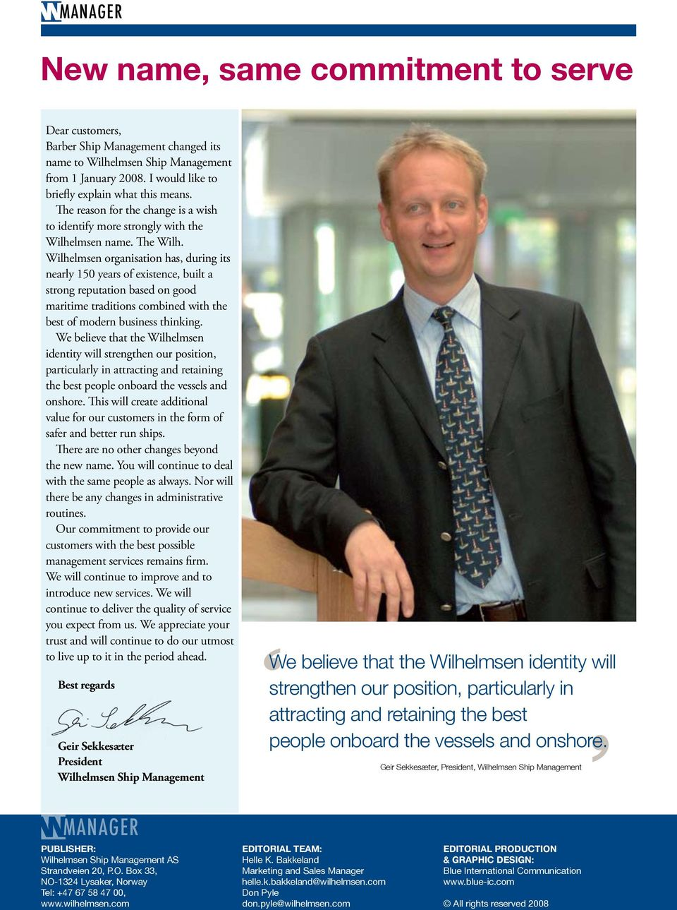 The Wilhelmsen Ship Management newsletter - No have what