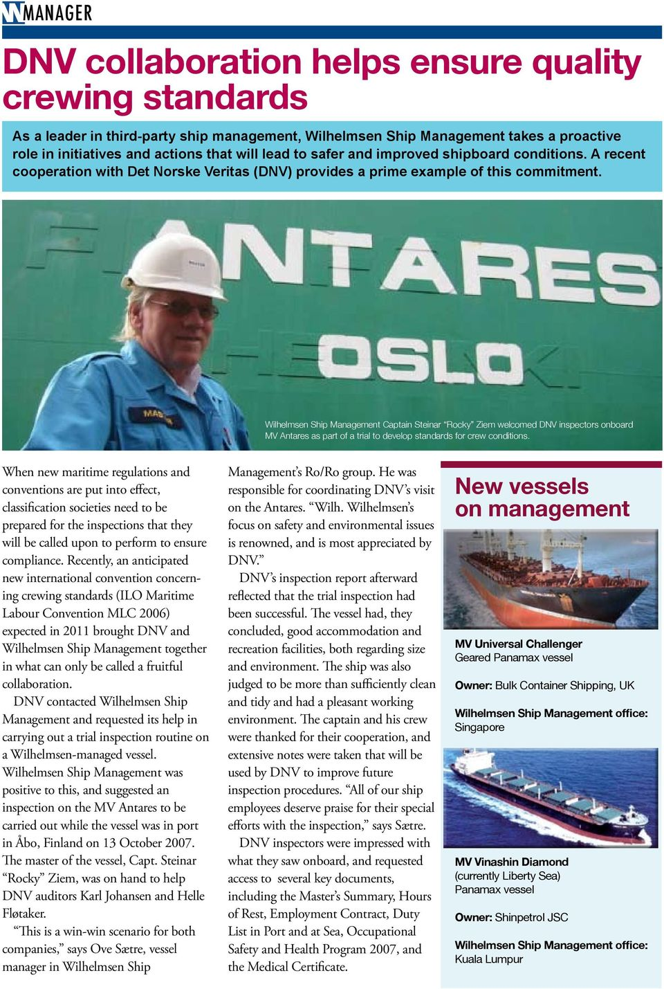 The Wilhelmsen Ship Management newsletter - No have what want you