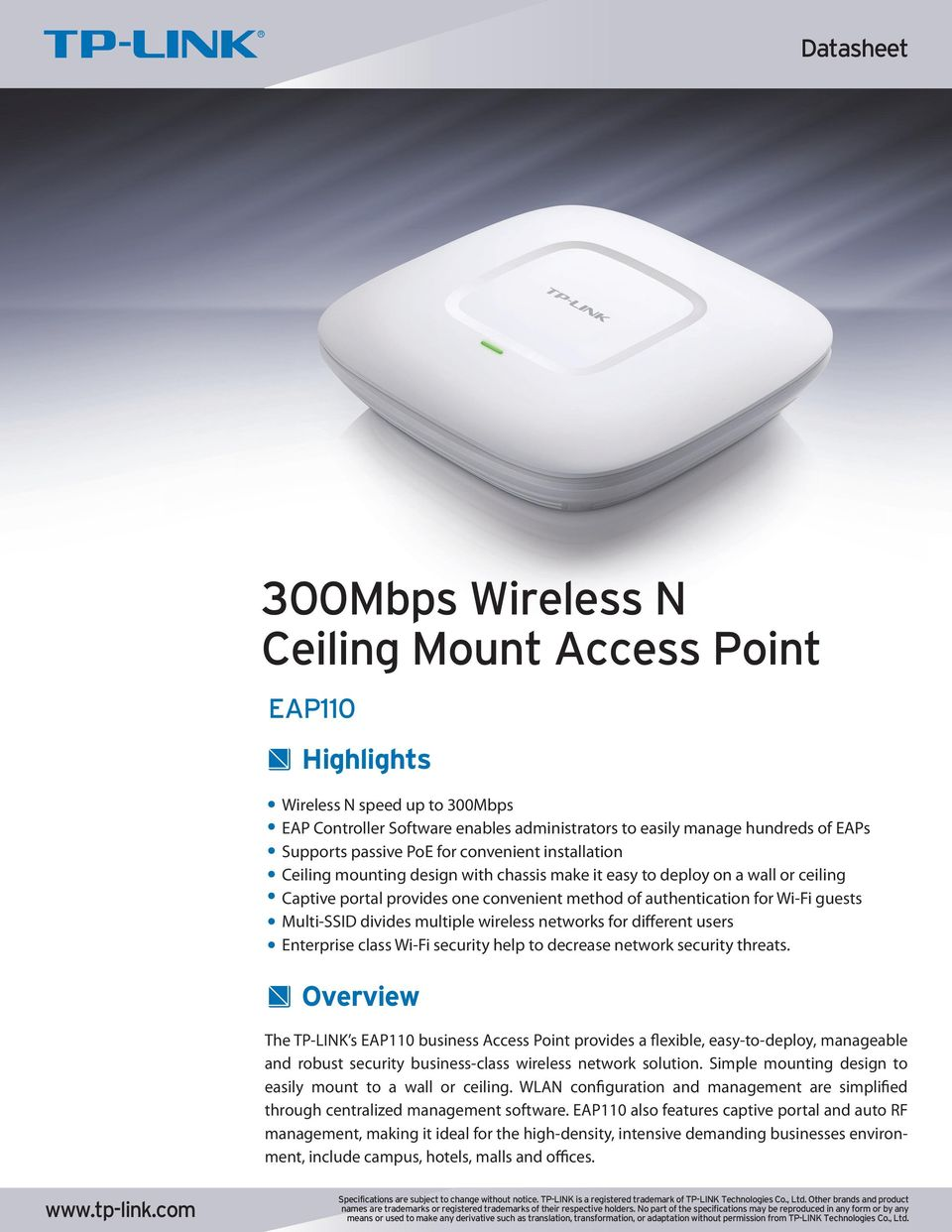 300mbps Wireless N Ceiling Mount Access Point Pdf Tp Link Eap 110 Multiple Networks For Different Users Enterprise Class Wi Fi Security Help To Decrease Network