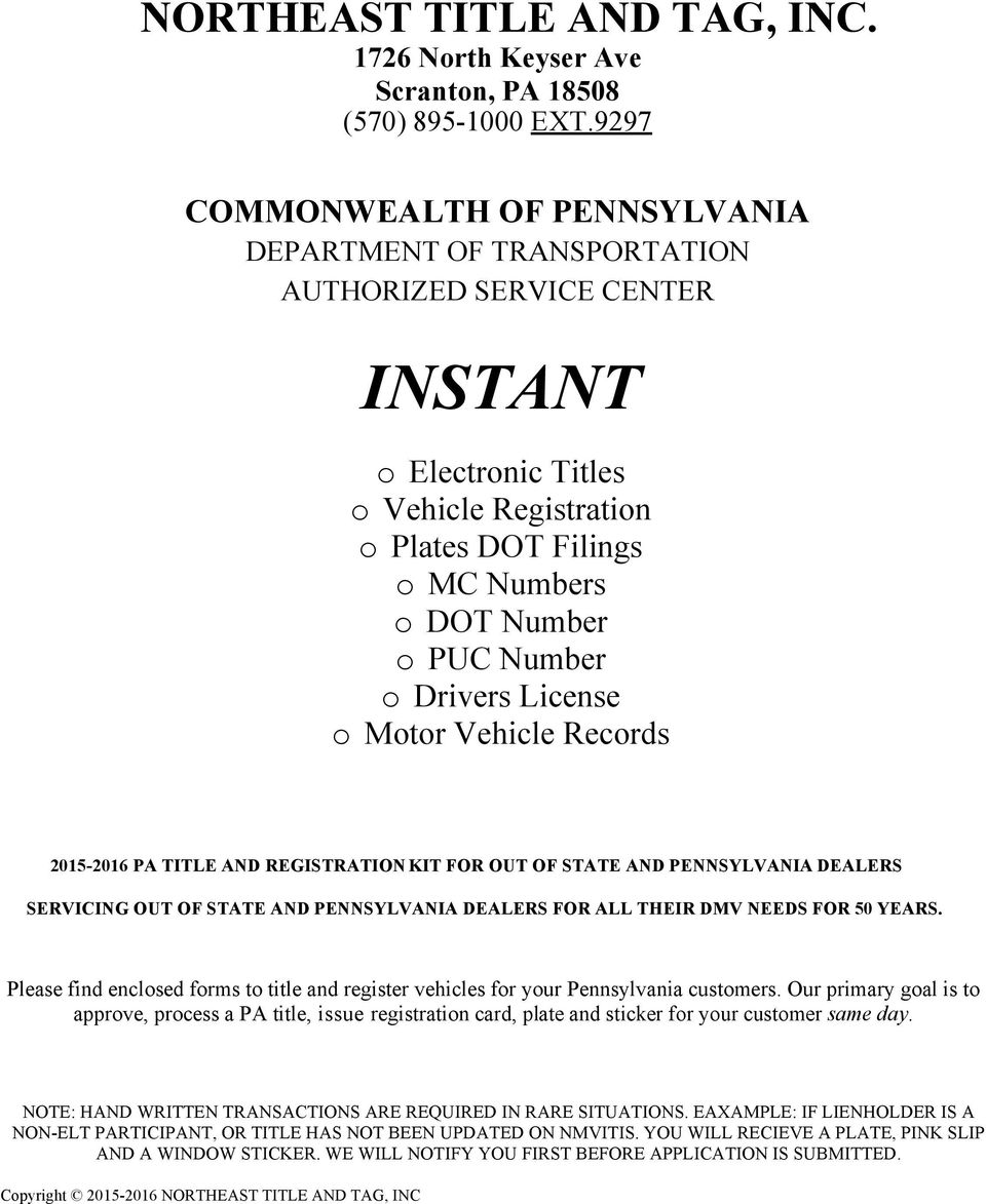Registering a car in pennsylvania from out of state
