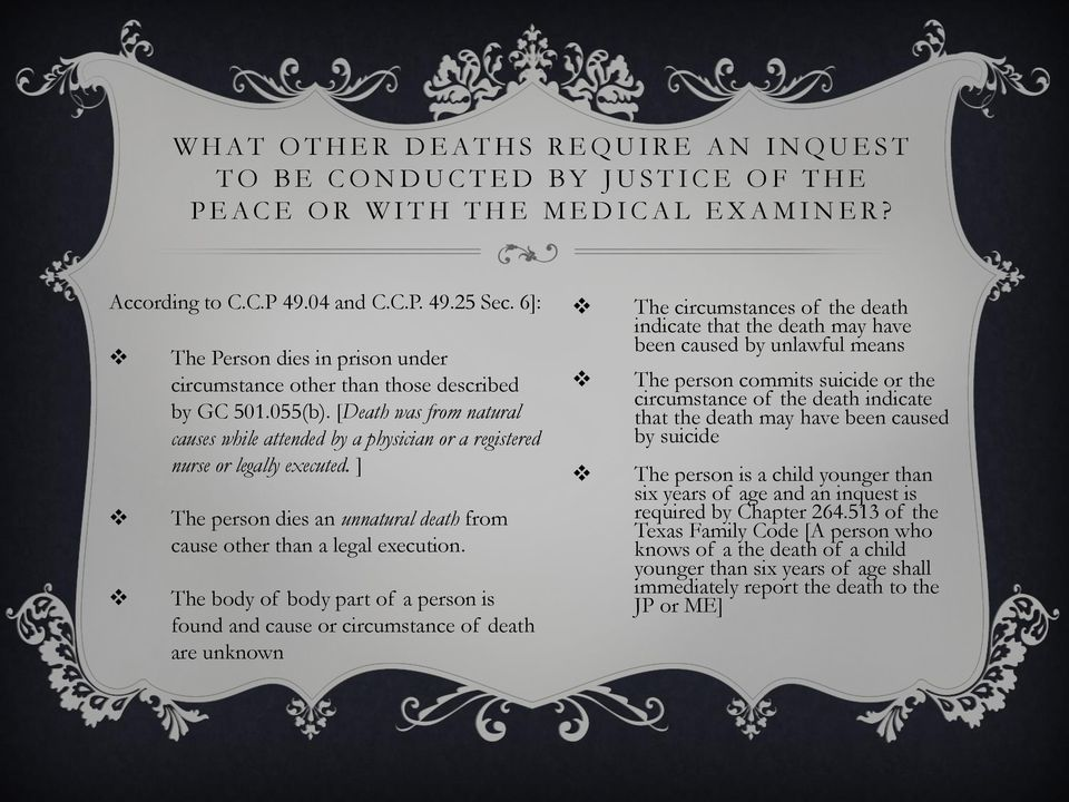 [Death was from natural causes while attended by a physician or a registered nurse or legally executed. ] The person dies an unnatural death from cause other than a legal execution.