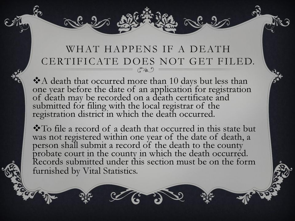 and submitted for filing with the local registrar of the registration district in which the death occurred.