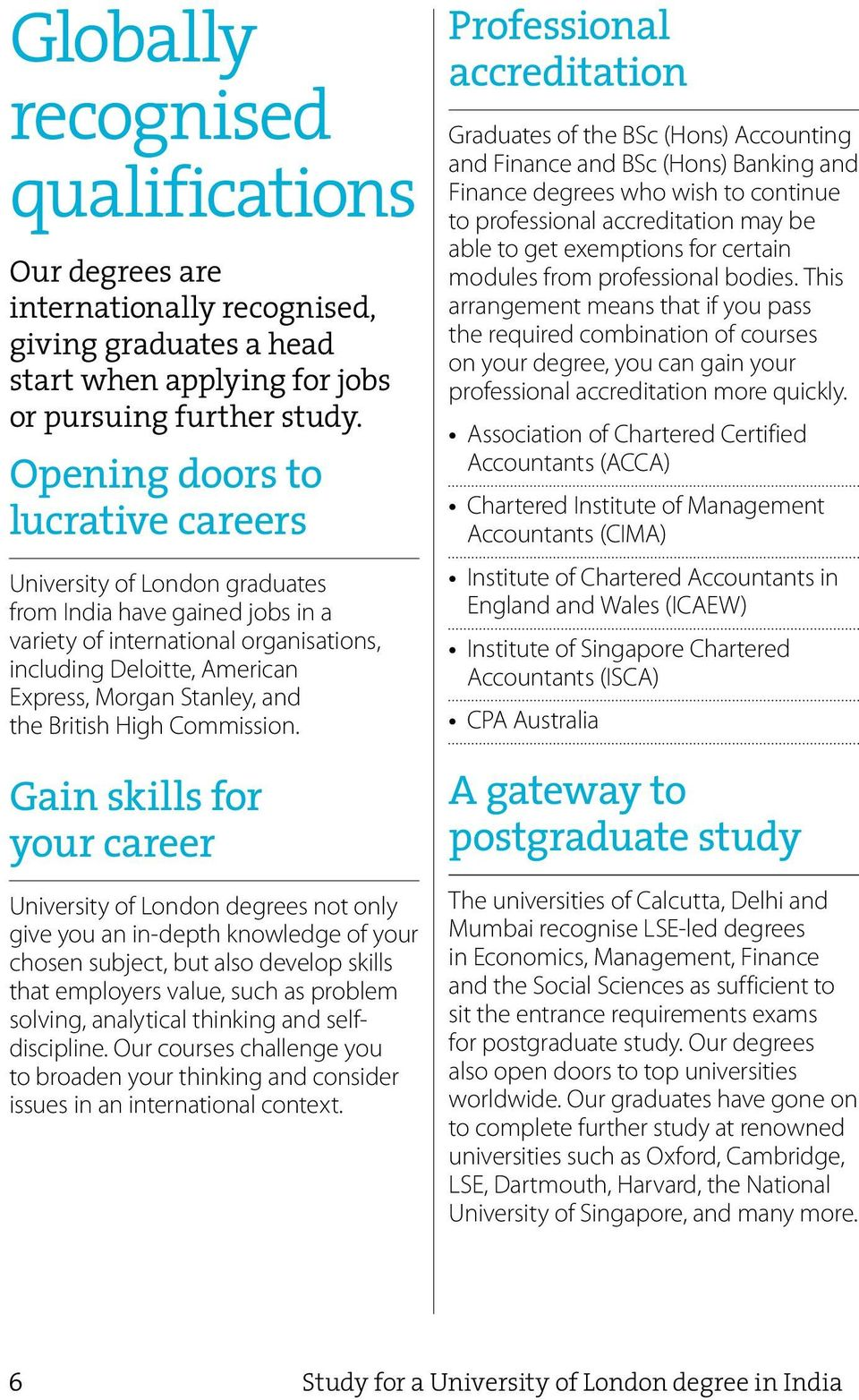 Study in India, graduate from the University of London - PDF