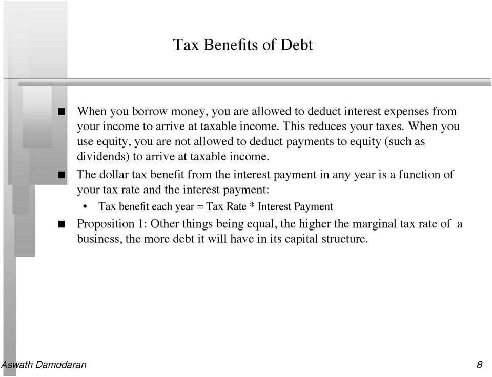 The dollar tax benefit from the interest payment in any year is a function of your tax rate and the interest payment: Tax benefit each year = Tax Rate
