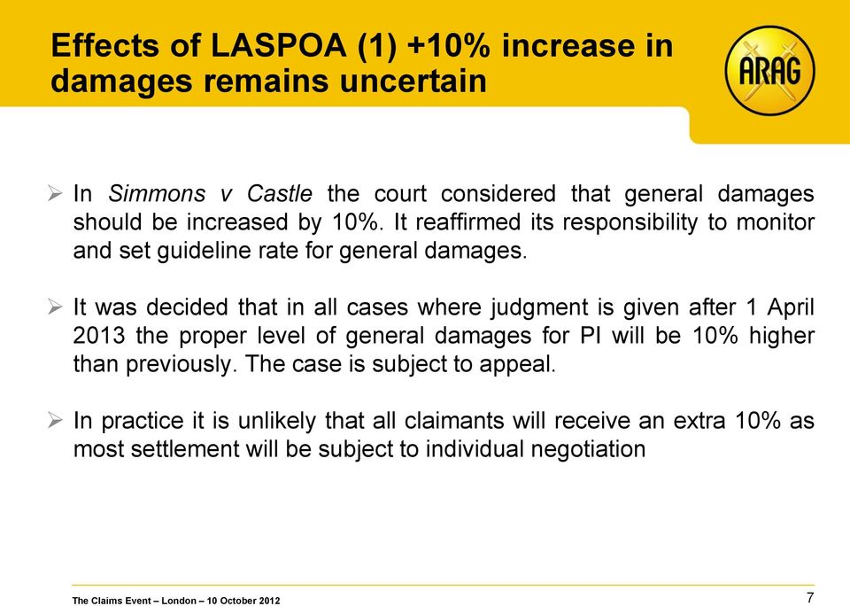 It was decided that in all cases where judgment is given after 1 April 2013 the proper level of general damages for PI will be 10% higher