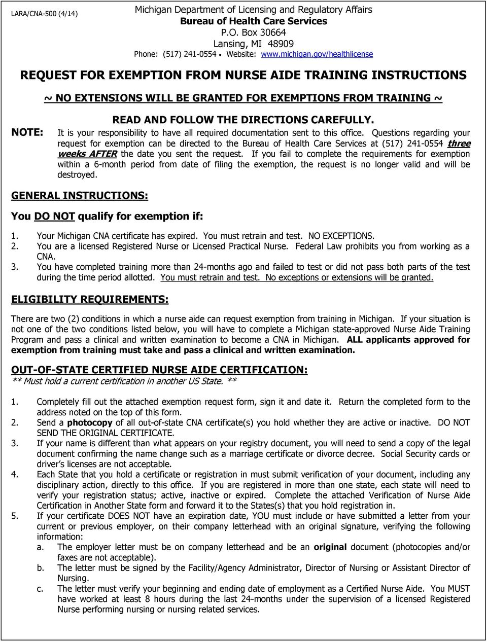 Request For Exemption From Nurse Aide Training Instructions Pdf