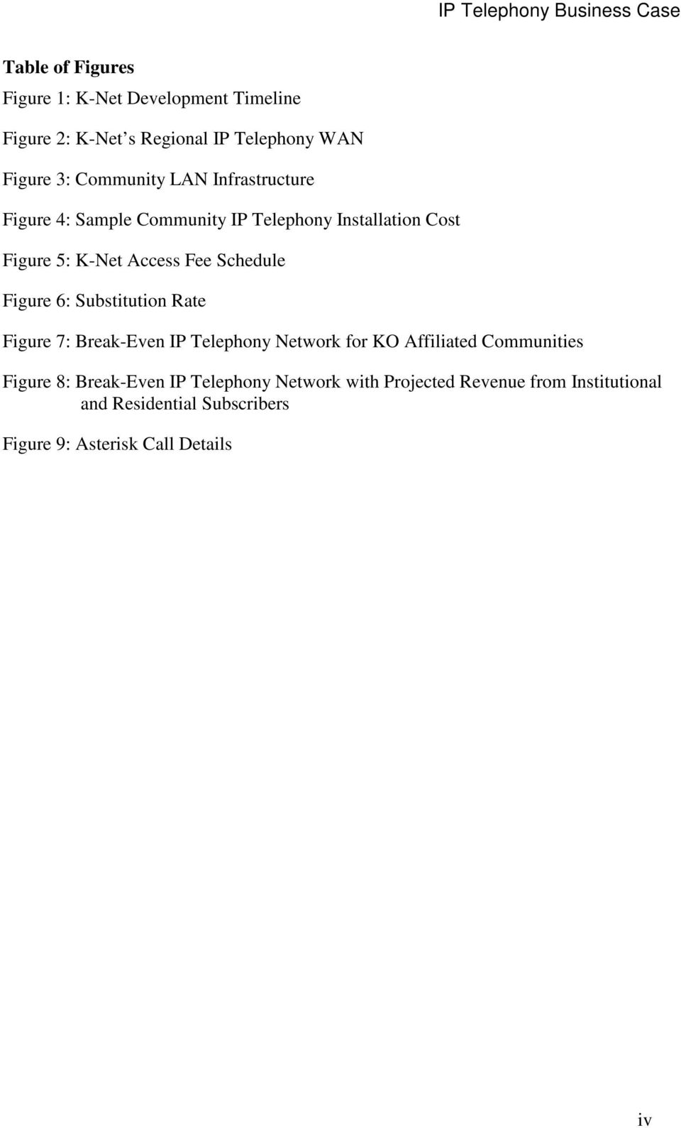 6: Substitution Rate Figure 7: Break-Even IP Telephony Network for KO Affiliated Communities Figure 8: Break-Even IP