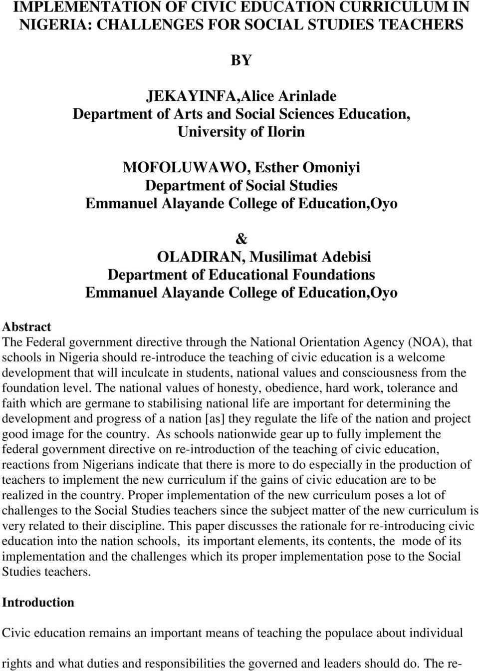 Nigeria Nursery School Syllabus Pdf