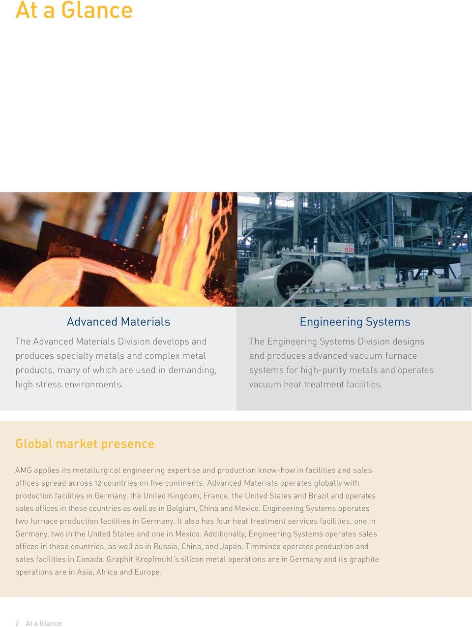 Global market presence AMG applies its metallurgical engineering expertise and production know-how in facilities and sales offices spread across 12 countries on five continents.