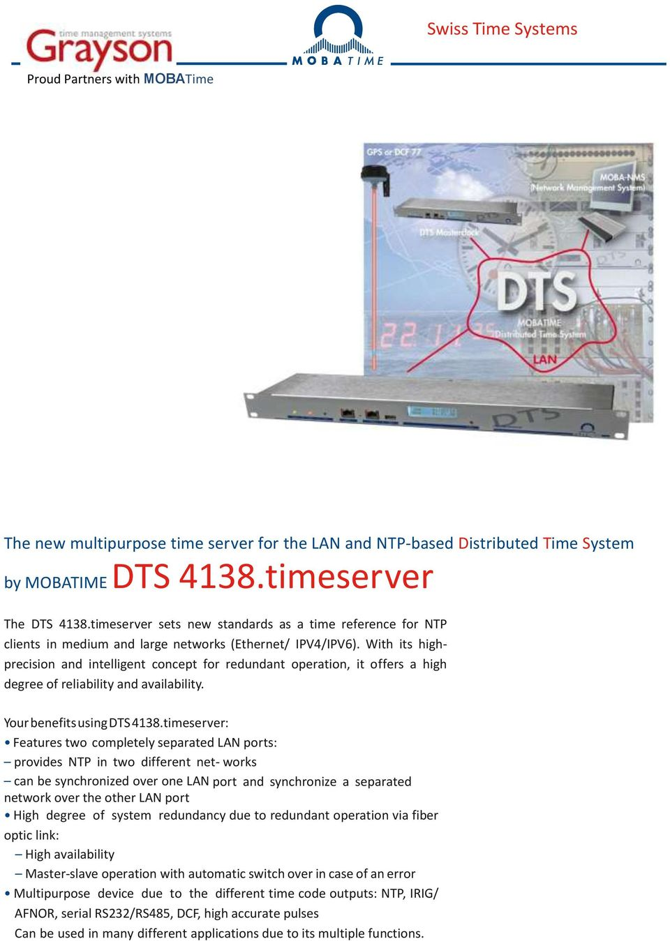 Swiss Time Systems  The new multipurpose time server for the
