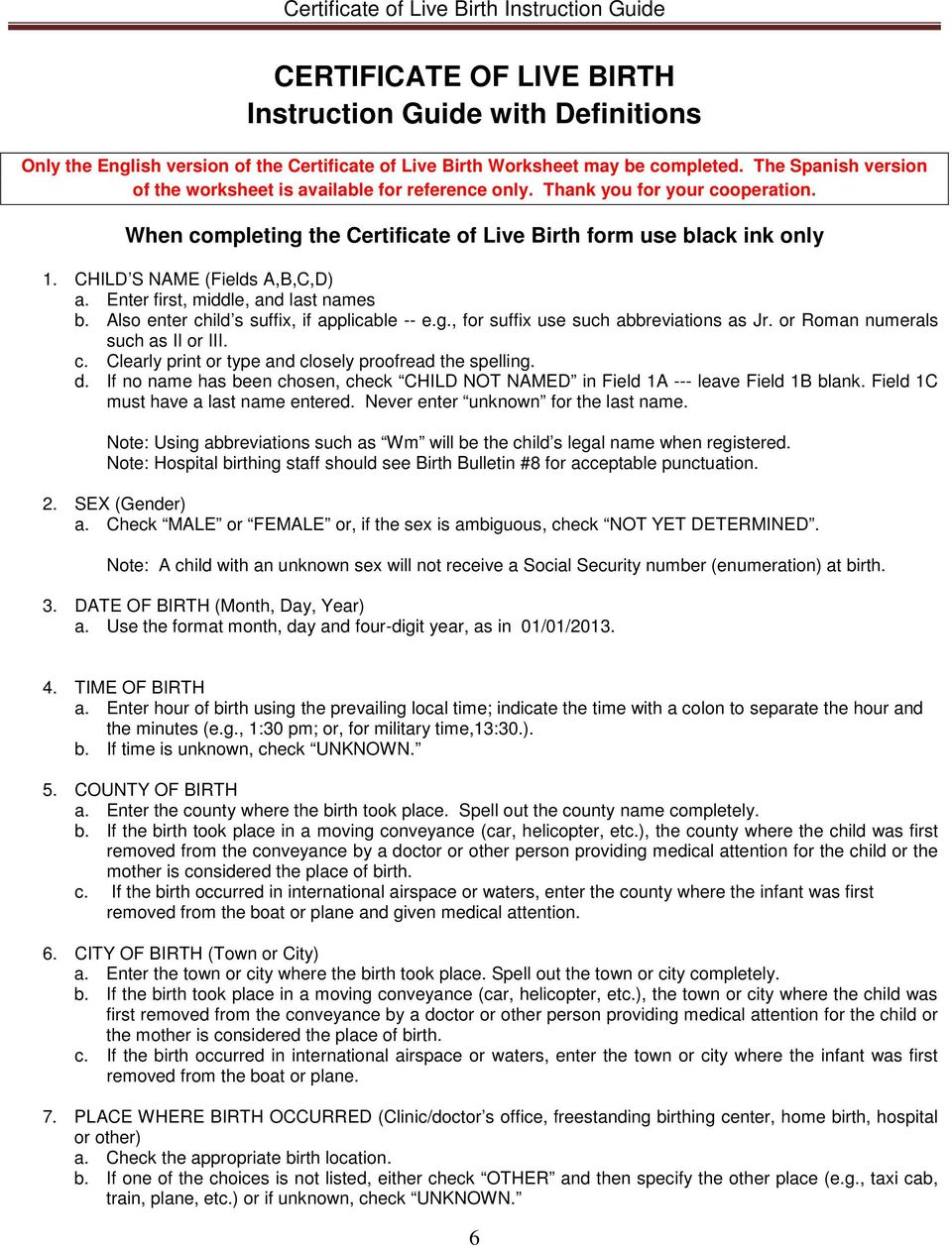 The Certificate Of Live Birth Worksheet Pdf