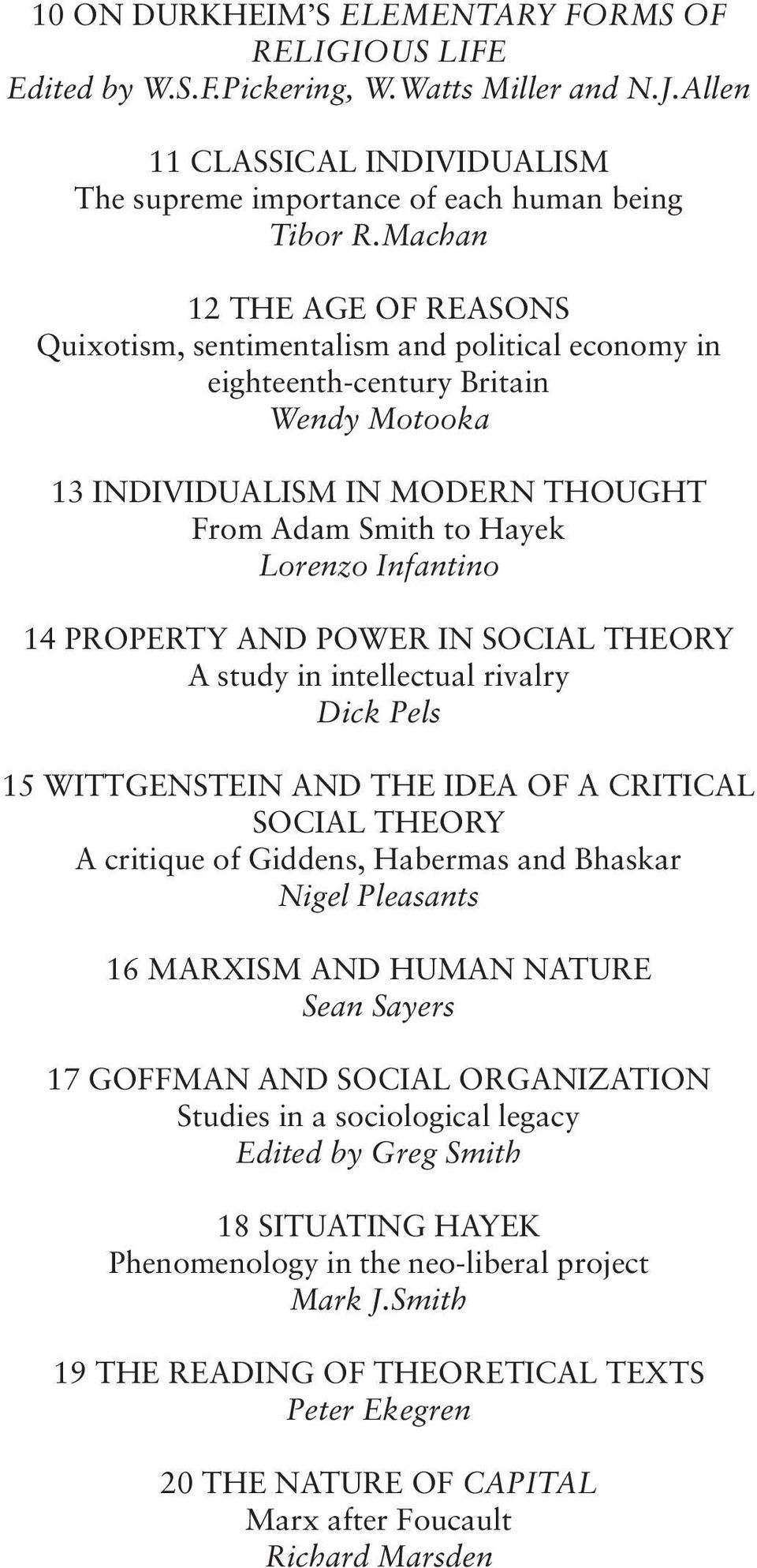 14 PROPERTY AND POWER IN SOCIAL THEORY A study in intellectual rivalry Dick Pels 15 WITTGENSTEIN AND THE IDEA OF A CRITICAL SOCIAL THEORY A critique of Giddens, Habermas and Bhaskar Nigel Pleasants