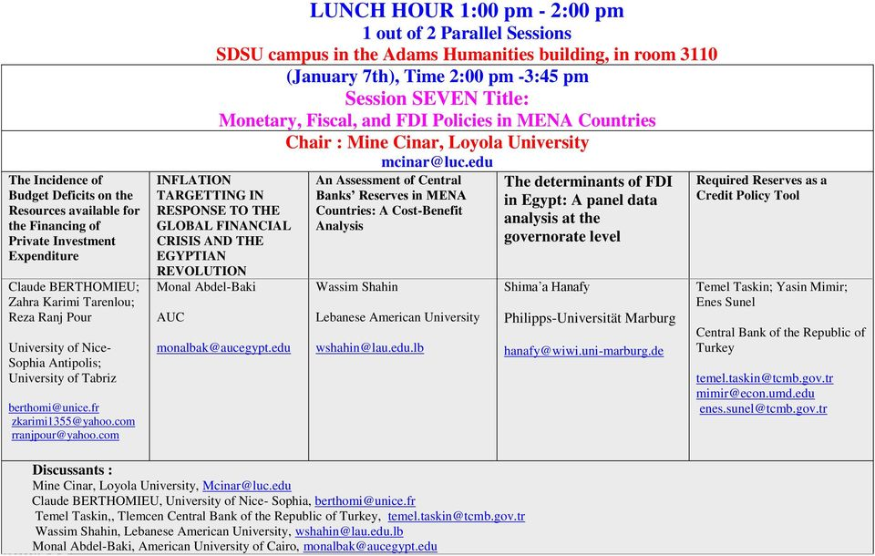 com LUNCH HOUR 1:00 pm - 2:00 pm 1 out of 2 Parallel Sessions SDSU campus in the Adams Humanities building, in room 3110 (January 7th), Time 2:00 pm -3:45 pm Session SEVEN Title: Monetary, Fiscal,