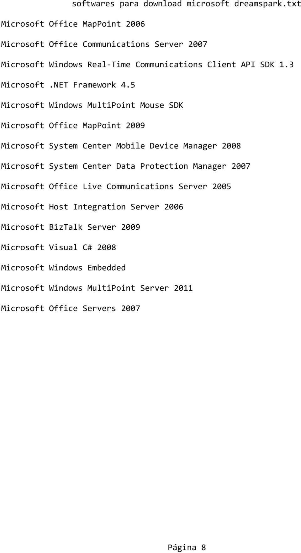 5 Microsoft Windows MultiPoint Mouse SDK Microsoft Office MapPoint 2009 Microsoft System Center Mobile Device Manager 2008 Microsoft System Center