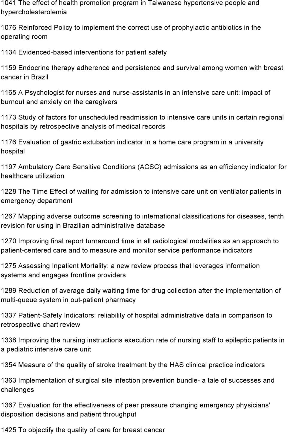 nurse-assistants in an intensive care unit: impact of burnout and anxiety on the caregivers 1173 Study of factors for unscheduled readmission to intensive care units in certain regional hospitals by