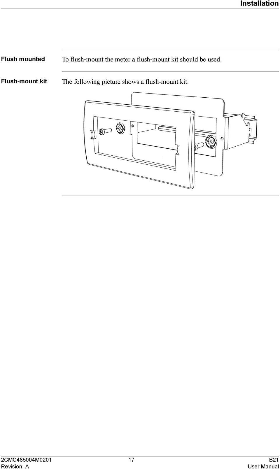 B21 User Manual Document Id 2cmc485004m0201 Revision A Pdf Wiring Diagram Aandc Contactor Flush Mount Kit The Following Picture