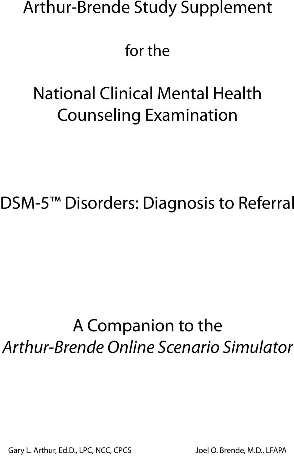 DSM-5 ONLINE SCENARIO SIMULATOR UPDATED NATIONAL CLINICAL