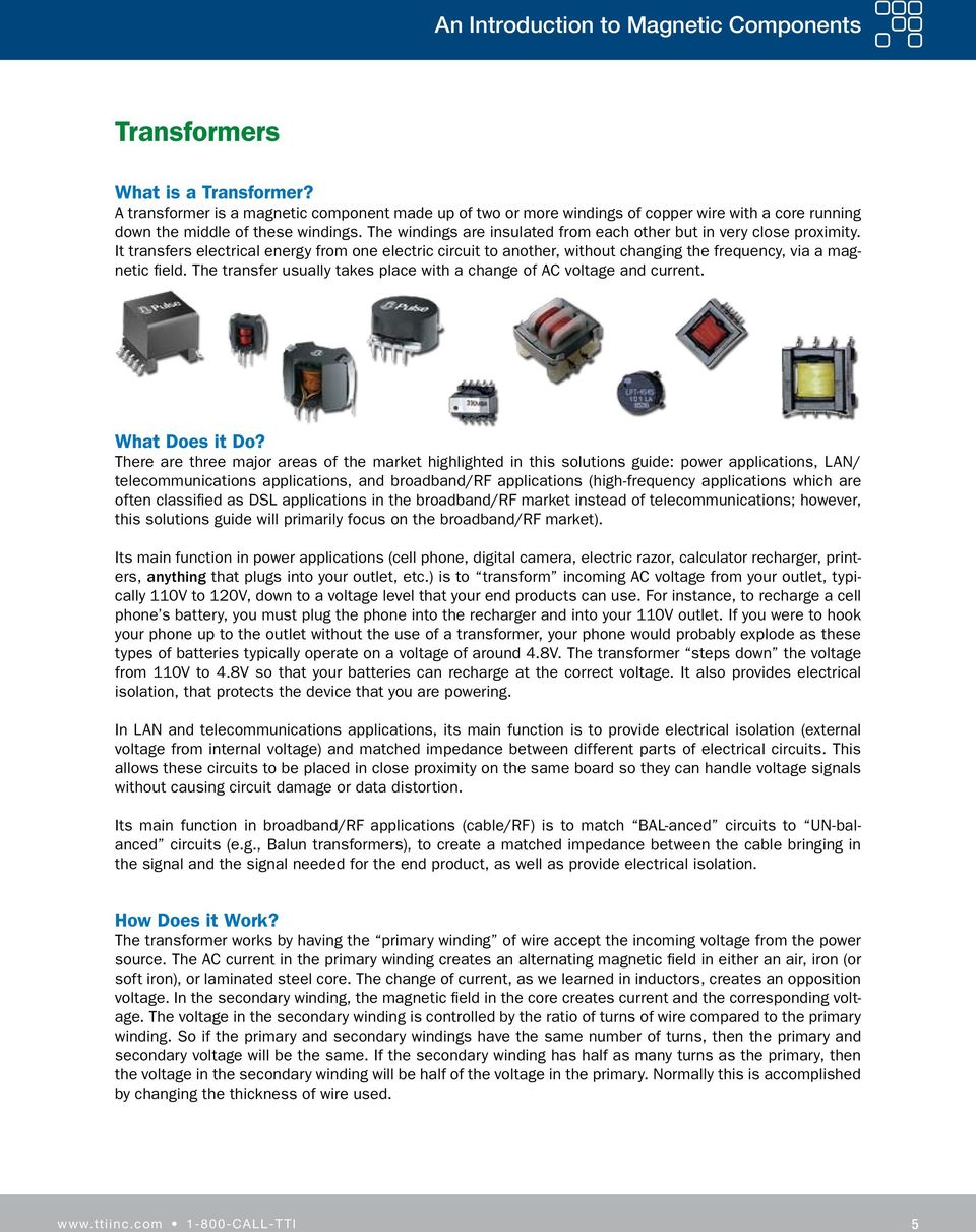 Magnetic Components Solutions Guide Pdf High Q Multilayer Chip Inductors Keeping Highfrequency Circuits The Windings Are Insulated From Each Other But In Very Close Proximity It Transfers Electrical