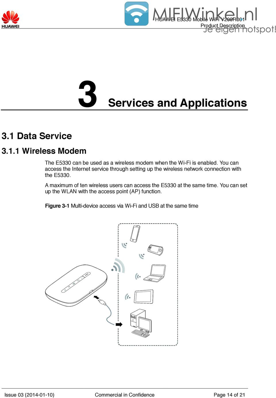 Product Description Huawei E5330 Mobile Wifi V200r001 Wireless Modem Diagram A Maximum Of Ten Users Can Access The At Same Time