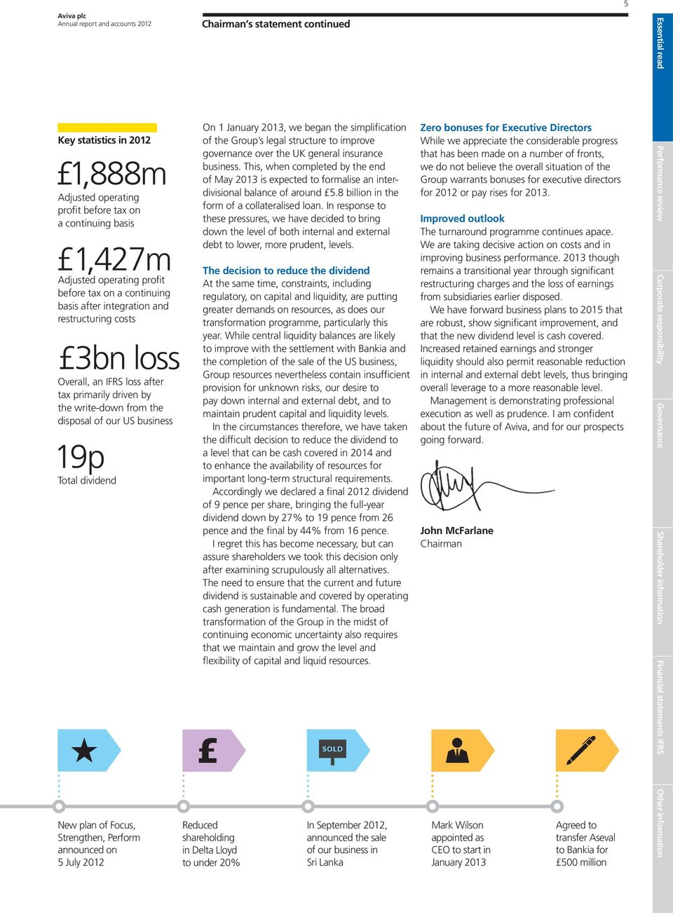 announced on 5 July 2012 Chairman s statement continued On 1 January 2013, we began the simplification of the Group s legal structure to improve governance over the UK general insurance business.