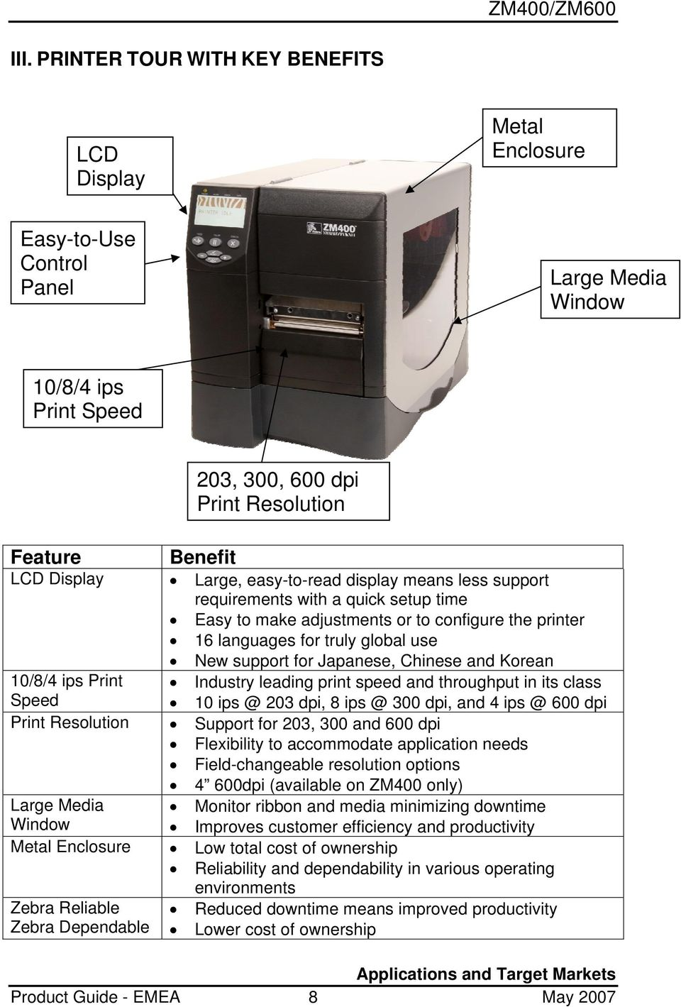 ips Print Speed Print Resolution Large Media Window Metal Enclosure Zebra Reliable Zebra Dependable Product Guide - EMEA Large, easy-to-read display means less support requirements with a quick setup