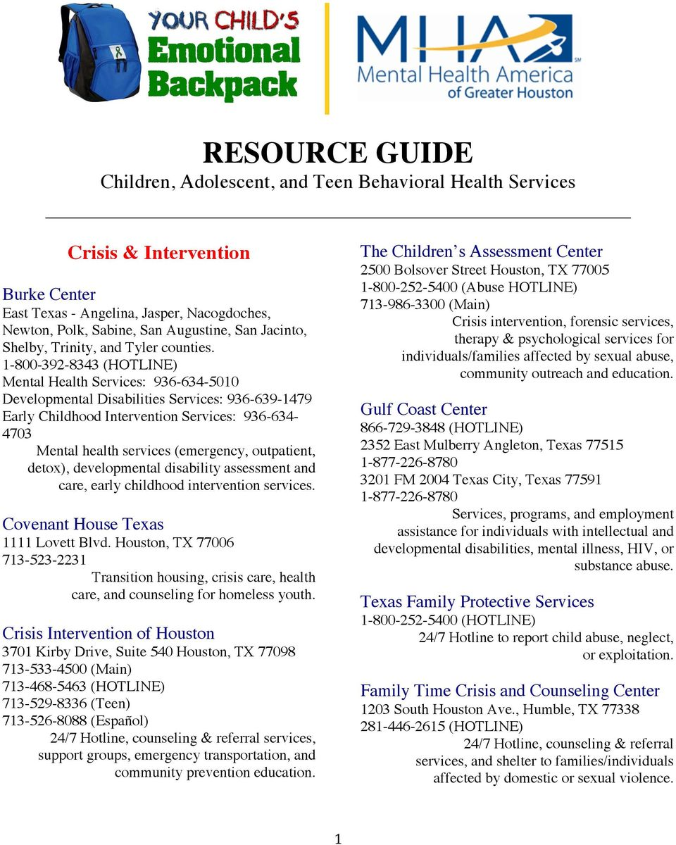 Resource Guide Children Adolescent And Teen Behavioral Health