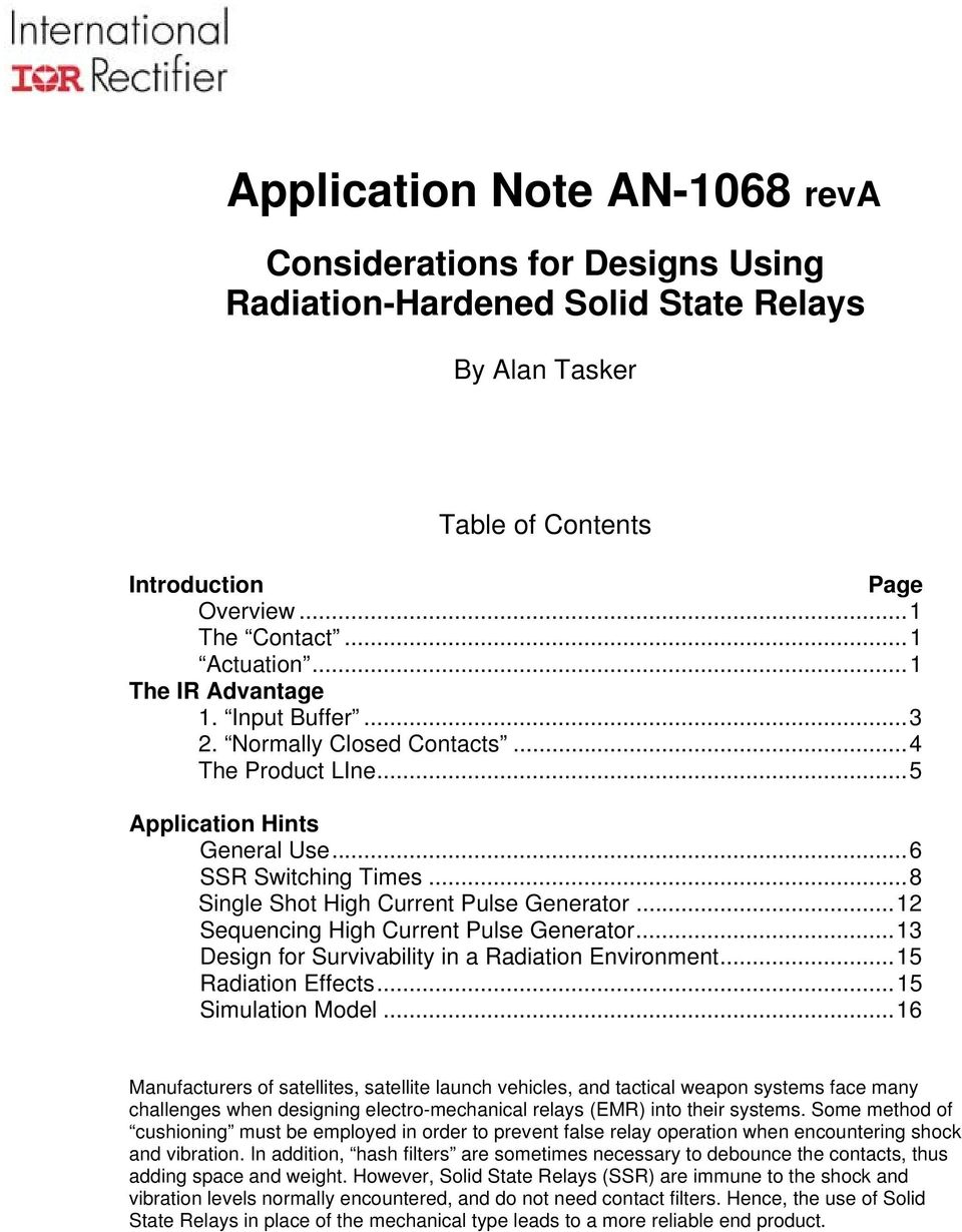 Application Note An 1068 Reva Pdf Current Pulse Relay 12 Sequencing High Generator13 Design For Survivability In