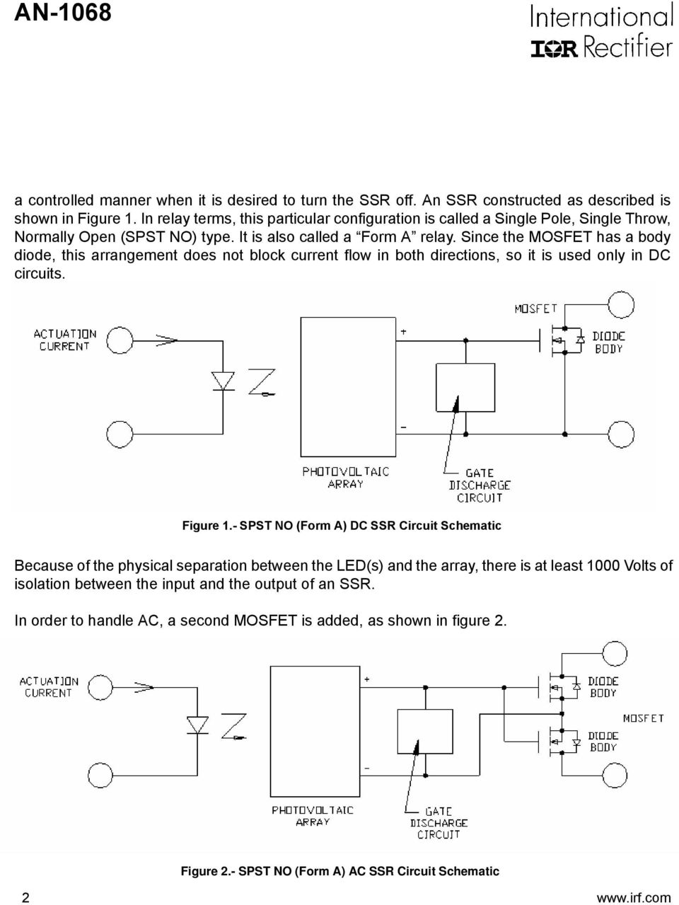 Application Note An 1068 Reva Pdf Ssr Wiring Diagram Ac To Dc Circuit Schematic 2 Since The Mosfet Has A Body Diode This Arrangement Does Not Block Current Flow In