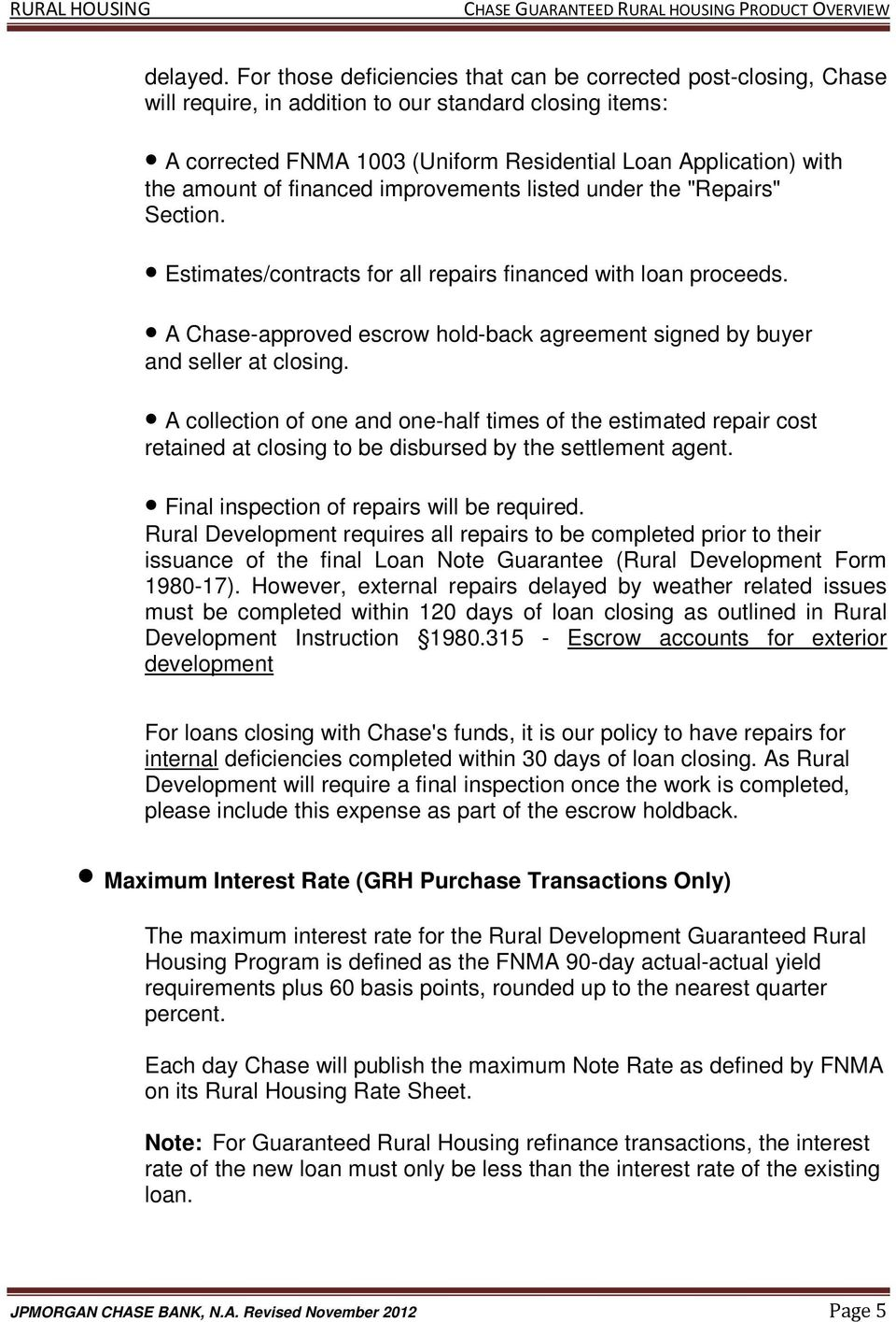 The Chase Guaranteed Rural Housing Refinance Program Features Pdf