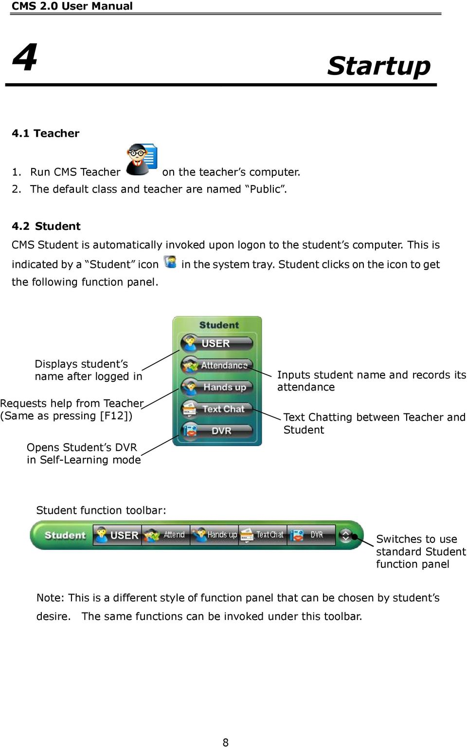 USER Displays student s name after logged in Requests help from Teacher (Same as pressing [F12]) Opens Student s DVR in Self-Learning mode Inputs student name and records its attendance Text