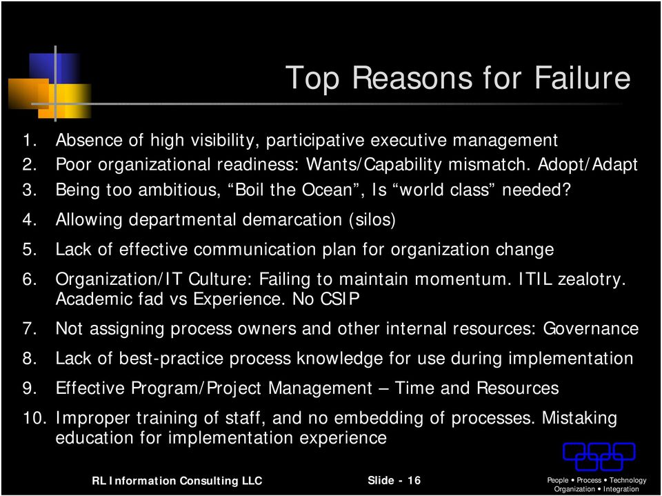 Organization/IT Culture: Failing to maintain momentum. ITIL zealotry. Academic fad vs Experience. No CSIP 7. Not assigning process owners and other internal resources: Governance 8.
