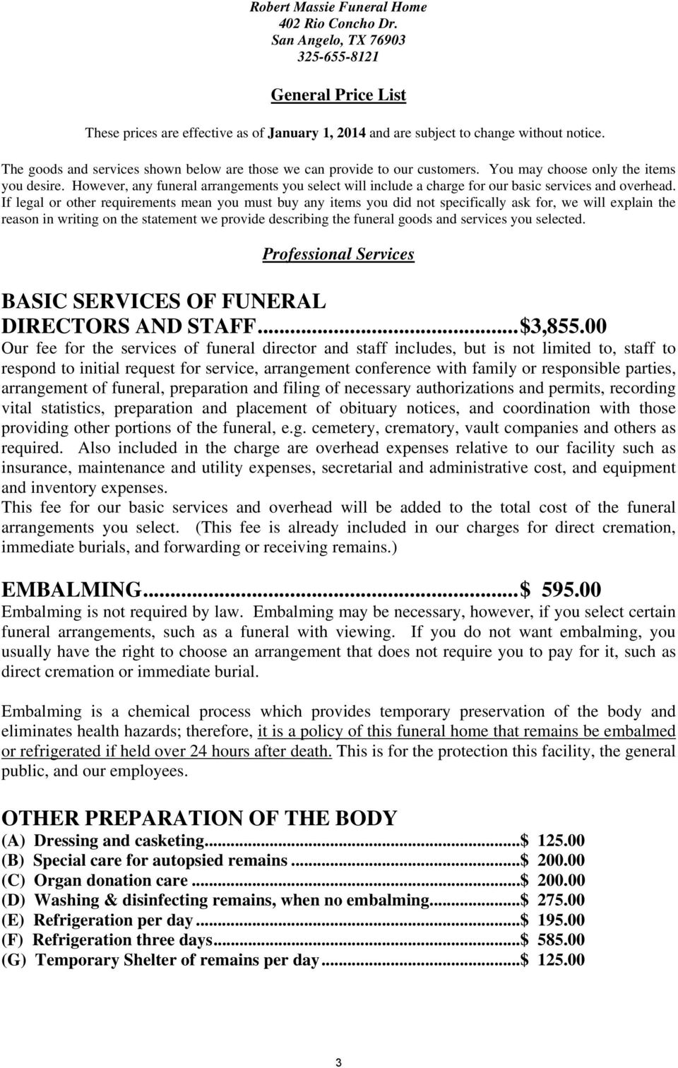 GENERAL PRICE LIST  *Required by Texas State Law for all