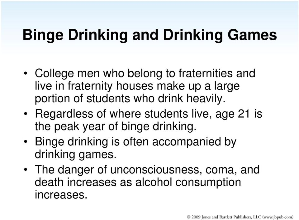 Regardless of where students live, age 21 is the peak year of binge drinking.