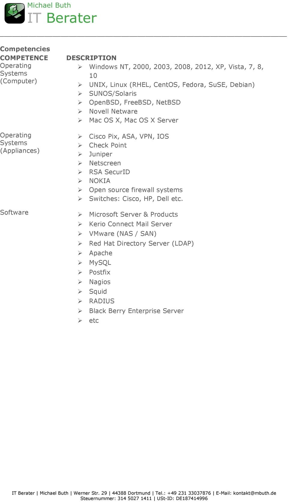 IOS Ø Check Point Ø Juniper Ø Netscreen Ø RSA SecurID Ø NOKIA Ø Open source firewall systems Ø Switches: Cisco, HP, Dell etc.