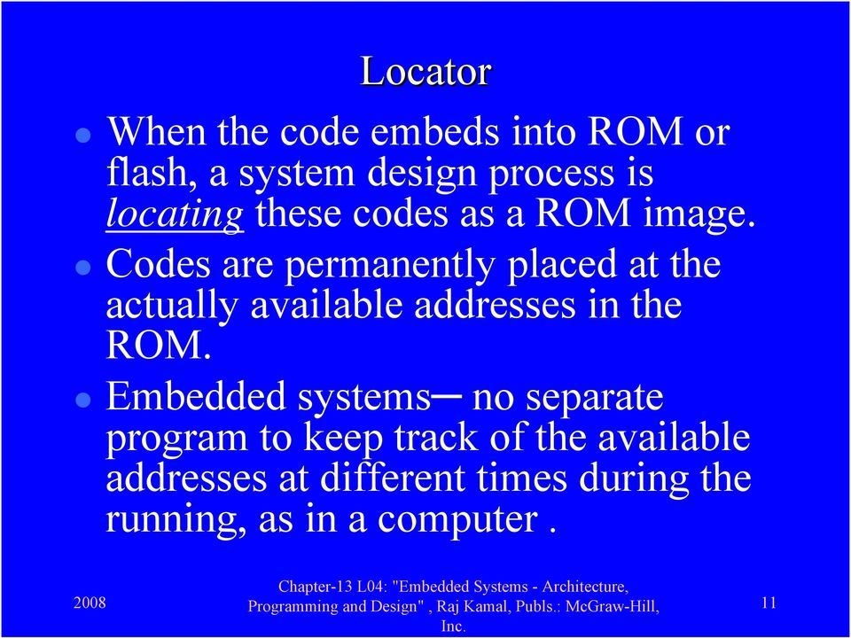 Codes are permanently placed at the actually available addresses in the ROM.