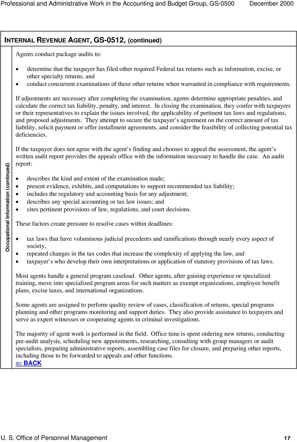 Job Family Position Classification Standard for Professional and