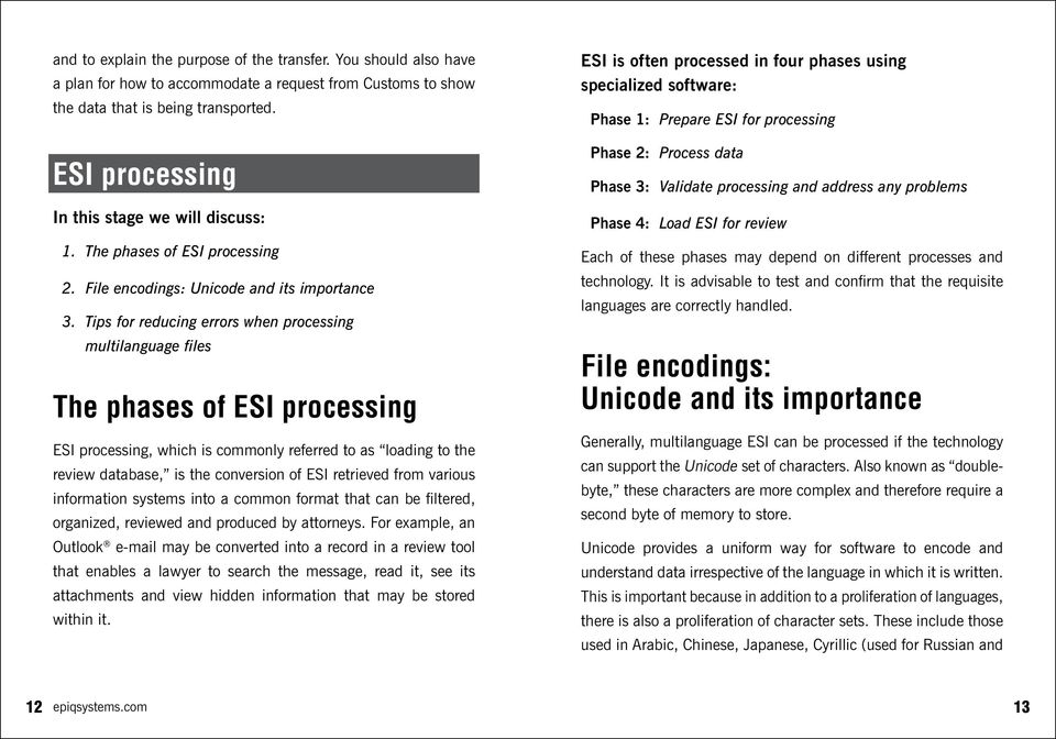 Tips for reducing errors when processing multilanguage files The phases of ESI processing ESI processing, which is commonly referred to as loading to the review database, is the conversion of ESI