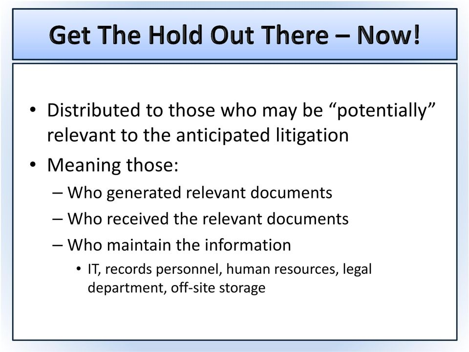 documents Who received the relevant documents Who maintain the