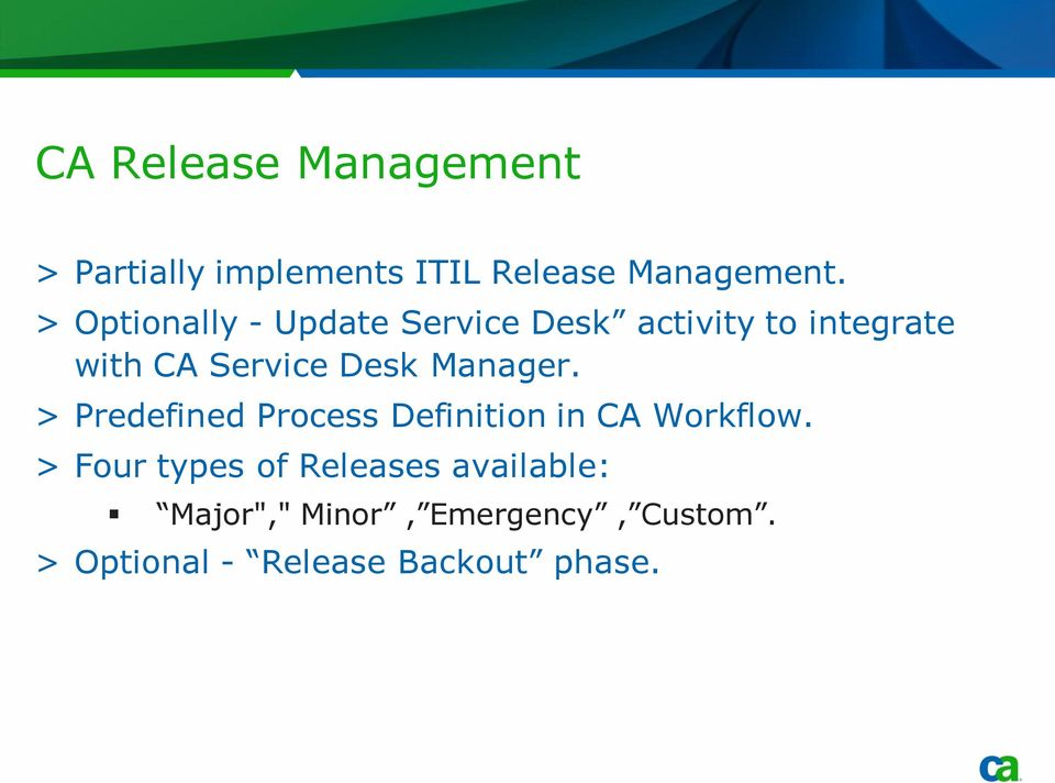 Manager. > Predefined Process Definition in CA Workflow.