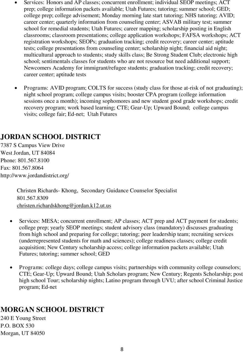utah school district resources high school to college services and
