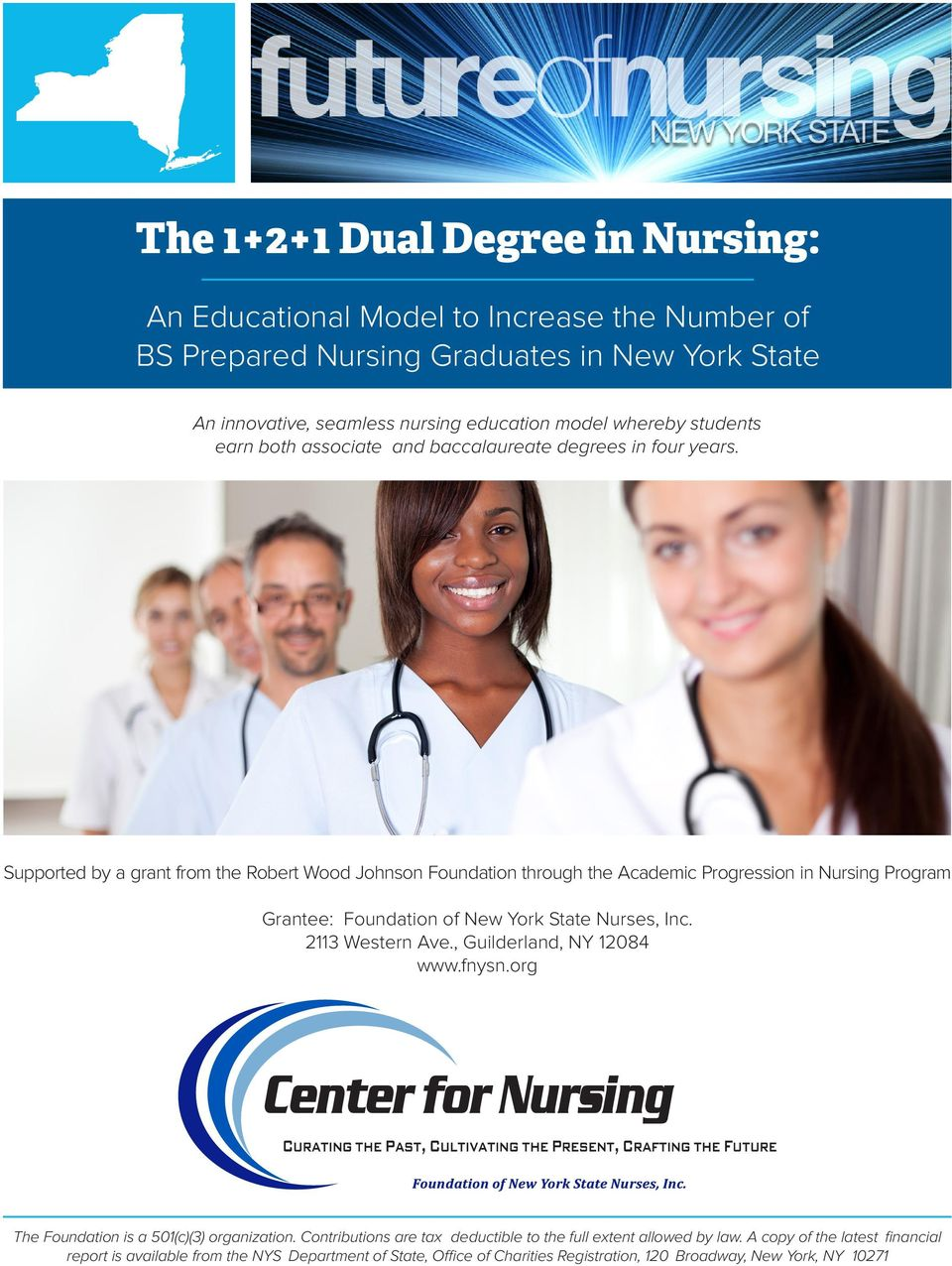 Supported by a grant from the Robert Wood Johnson Foundation through the Academic Progression in Nursing Program Grantee: Foundation of New York State Nurses, Inc. 2113 Western Ave.