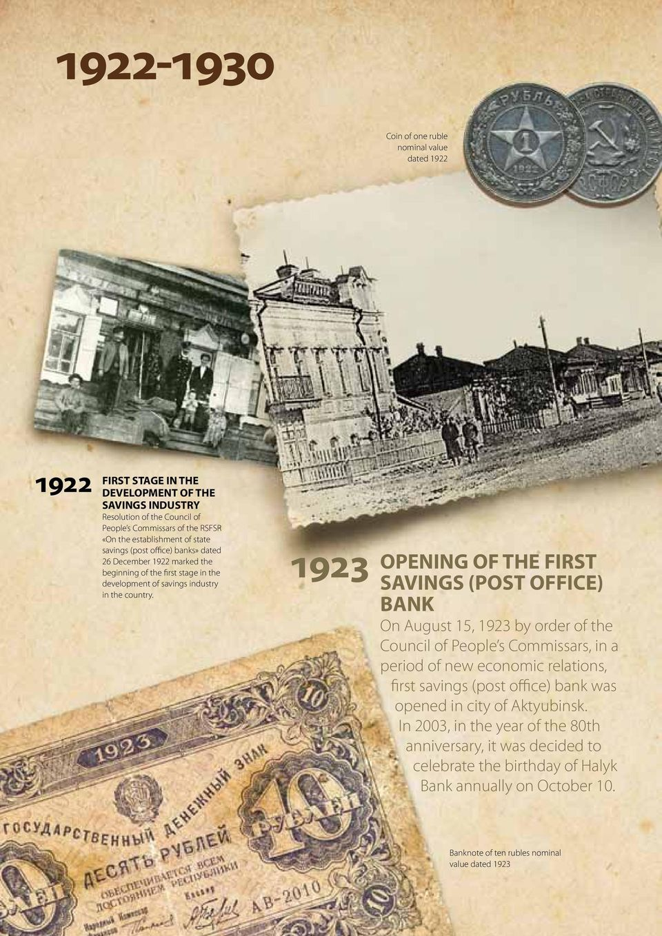 1923 OPENING OF THE FIRST SAVINGS (POST OFFICE) BANK On August 15, 1923 by order of the Council of People s Commissars, in a period of new economic relations, first savings (post office)