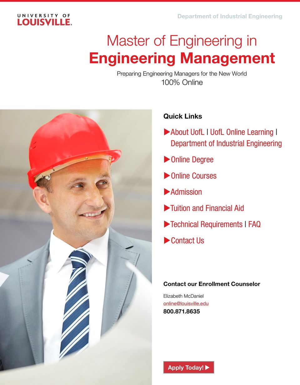 Department of Industrial Engineering uonline Degree uonline Courses uadmission utuition and Financial Aid