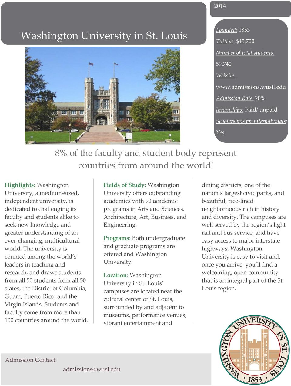 Highlights: Washington University, a medium-sized, independent university, is dedicated to challenging its faculty and students alike to seek new knowledge and greater understanding of an