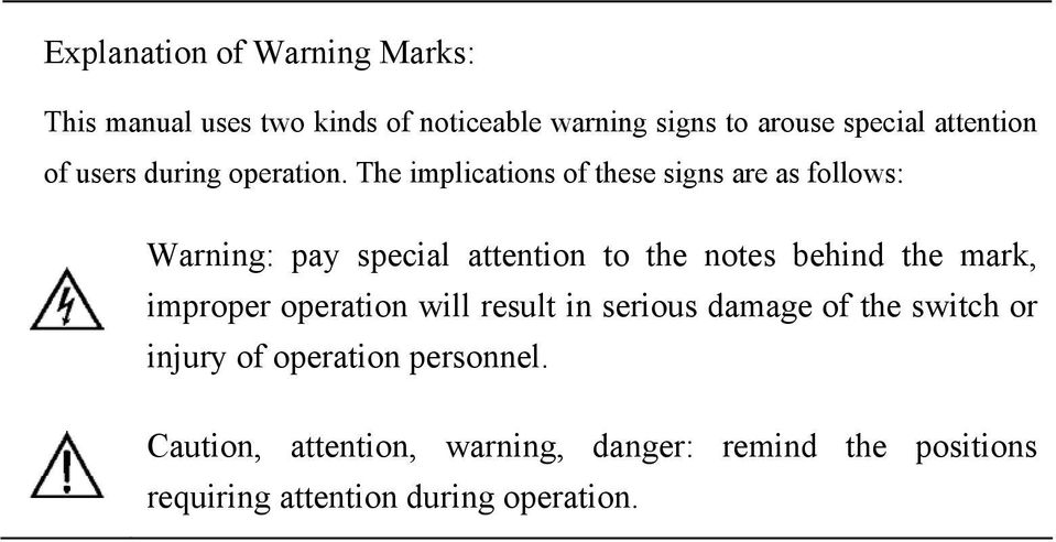 The implications of these signs are as follows: Warning: pay special attention to the notes behind the mark,