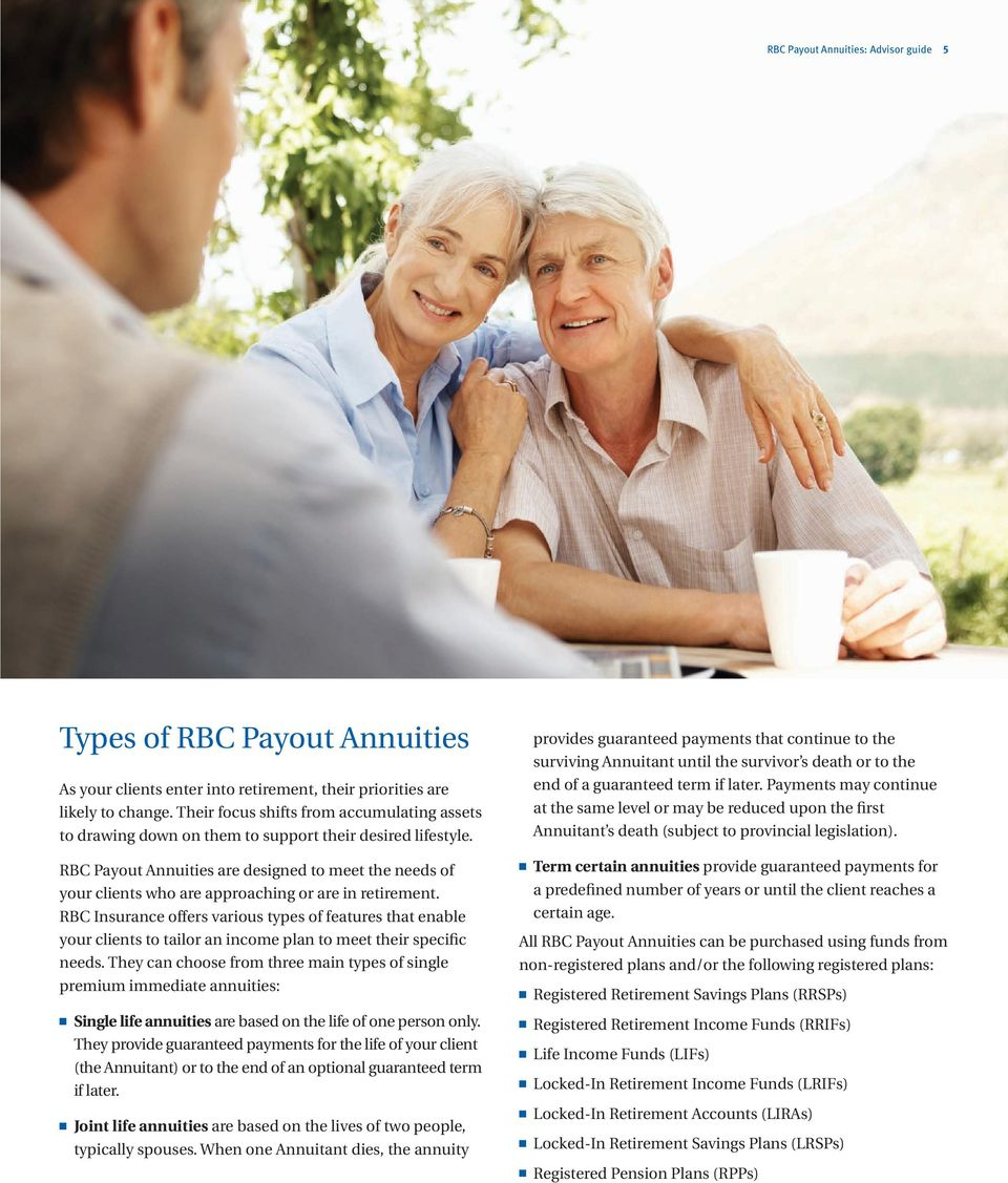 RBC Payout Annuities are designed to meet the needs of your clients who are approaching or are in retirement.