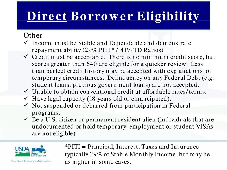 Delinquency on any Federal Debt (e.g. student loans, previous government loans) are not accepted. Unable to obtain conventional credit at affordable rates/terms.