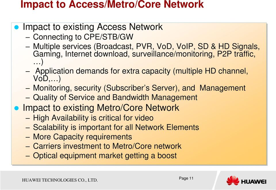 (Subscriber s Server), and Management Quality of Service and Bandwidth Management Impact to existing Metro/Core Network High Availability is critical for video